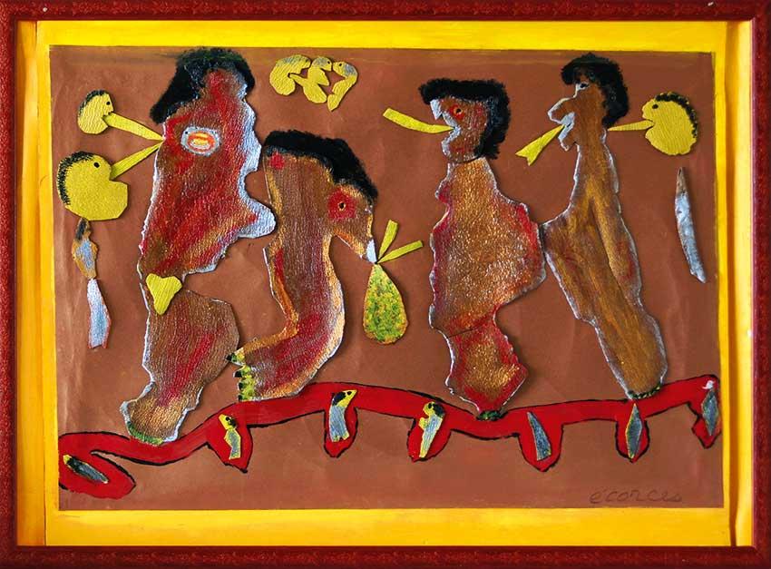 2006 - Les Messagers volants - Fond en carton - peinture à l'eau sur écorces - collage - 50x60 cm