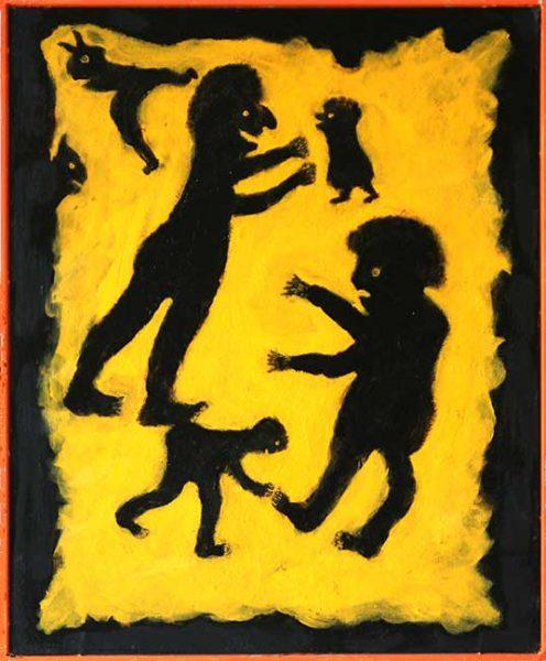 2005 - Les Radons de Curie - peinture à l'eau sur toile - 50x40 cm