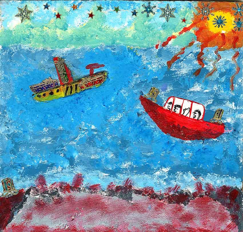 2007 - Sans titre - Peinture à l'eau sur carton - collage - 20x18 cm
