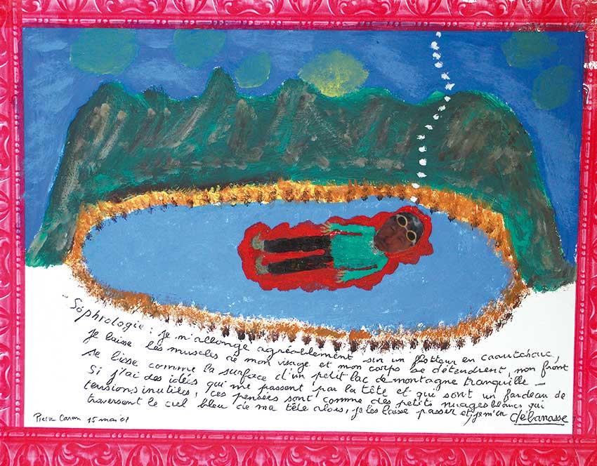 2007 - Sophrologie - peinture à l'eau sur papier - écriture - 15x25 cm