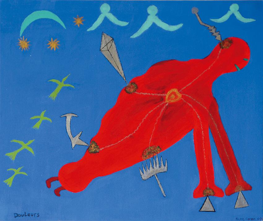 2007 - Douleurs - Peinture à l'eau sur bois - 50x70 cm