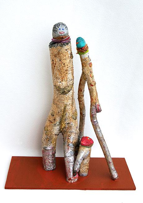 2006 - Le Trio - Peinture à l'eau sur bois et galet - cordage - 55x30x30 cm