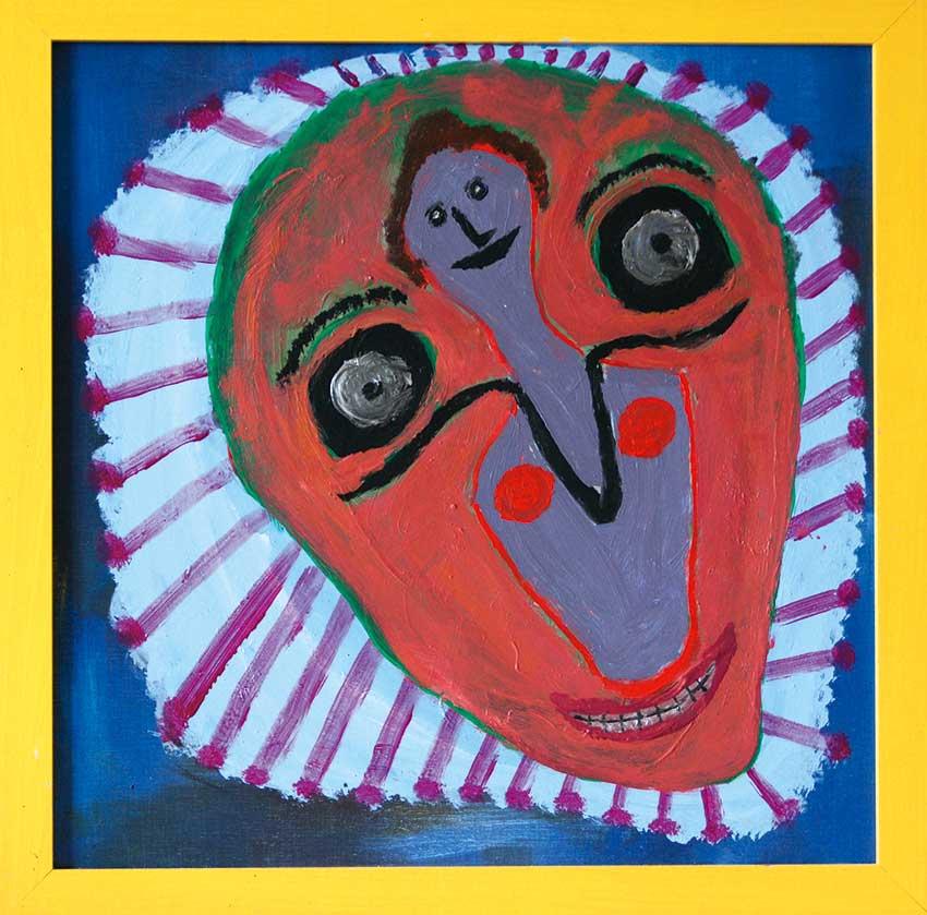 2006 - Visages - Peinture à l'eau sur bois - 60x60 cm