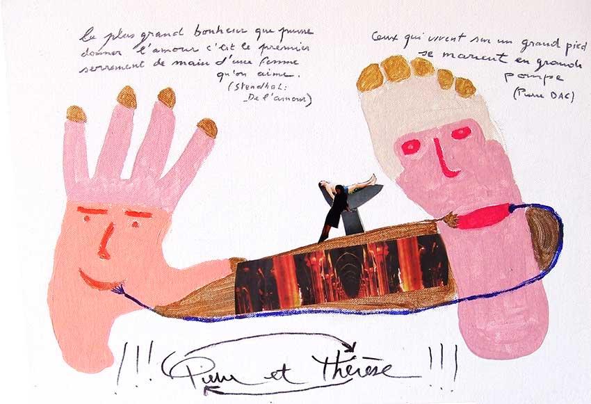 2007 - Pierre et Thérèse - peinture à l'eau sur carton - collage - 30x40 cm