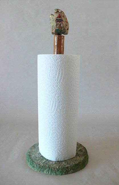 2005 - Dévideur d'essuie-tout - galet - peinture à l'eau - 50x15x15 cm